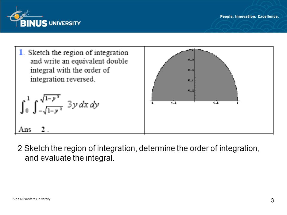 2 Sketch the region of integration, determine the order of integration, and evaluate the integral.