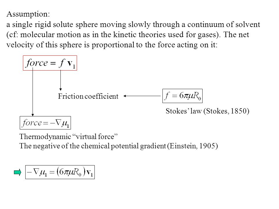 Assumption: a single rigid solute sphere moving slowly through a continuum of solvent.