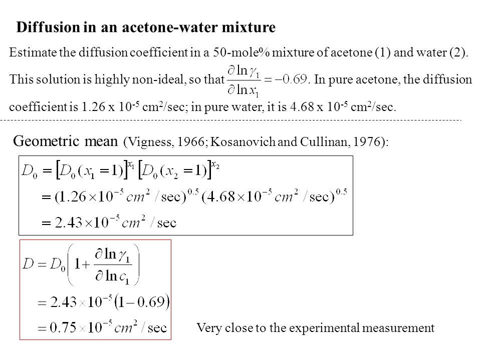 Diffusion in an acetone-water mixture