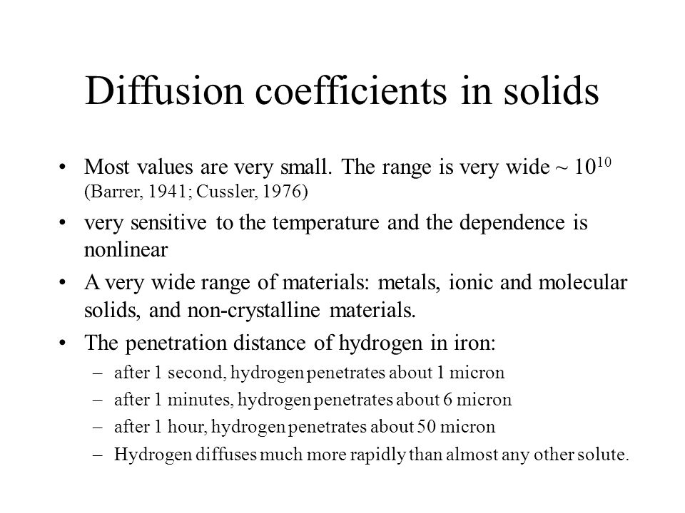 Diffusion coefficients in solids