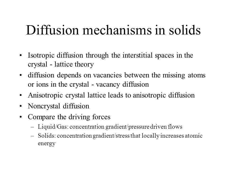 Diffusion mechanisms in solids
