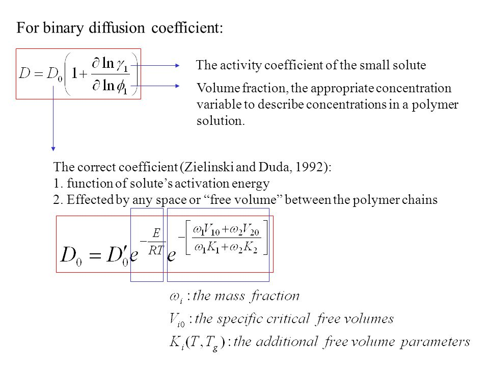 For binary diffusion coefficient: