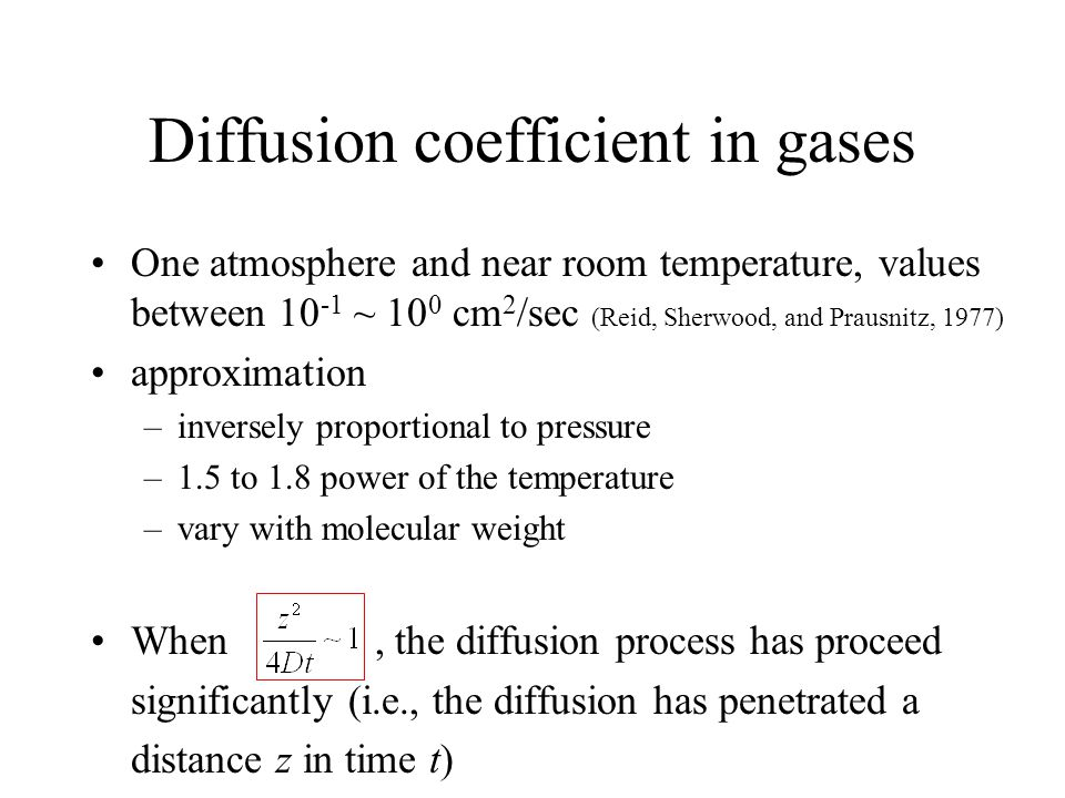 Diffusion coefficient in gases