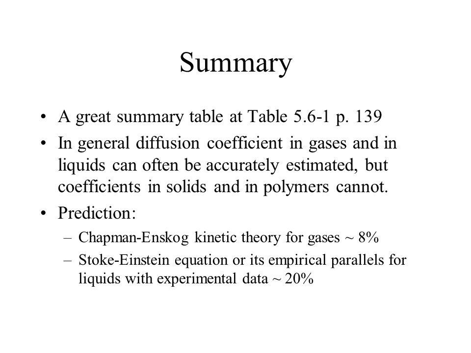 Summary A great summary table at Table 5.6-1 p. 139