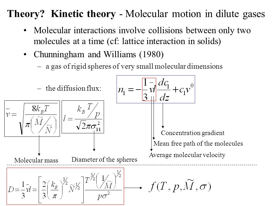 Theory Kinetic theory - Molecular motion in dilute gases