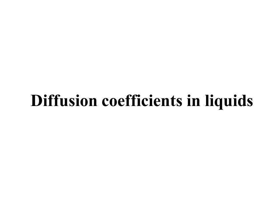 Diffusion coefficients in liquids
