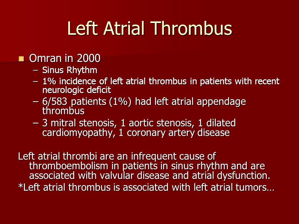 Left Atrial Thrombus Omran in 2000