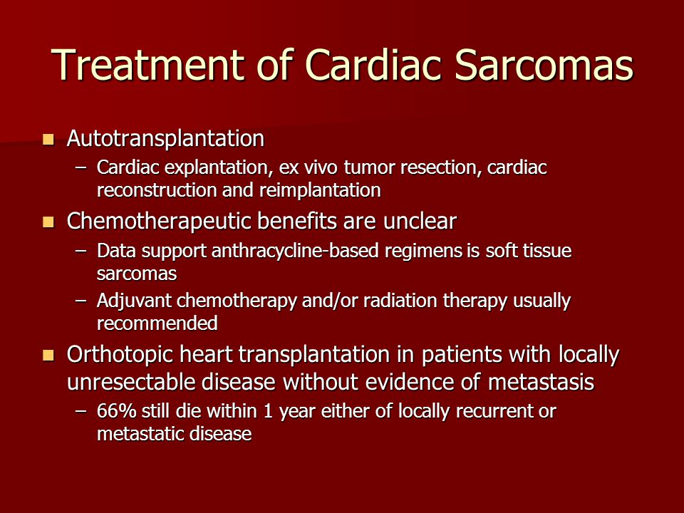 Treatment of Cardiac Sarcomas