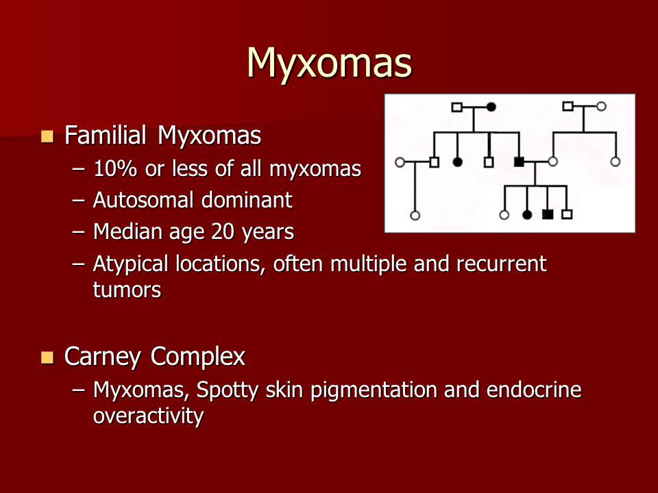 Myxomas Familial Myxomas Carney Complex 10% or less of all myxomas