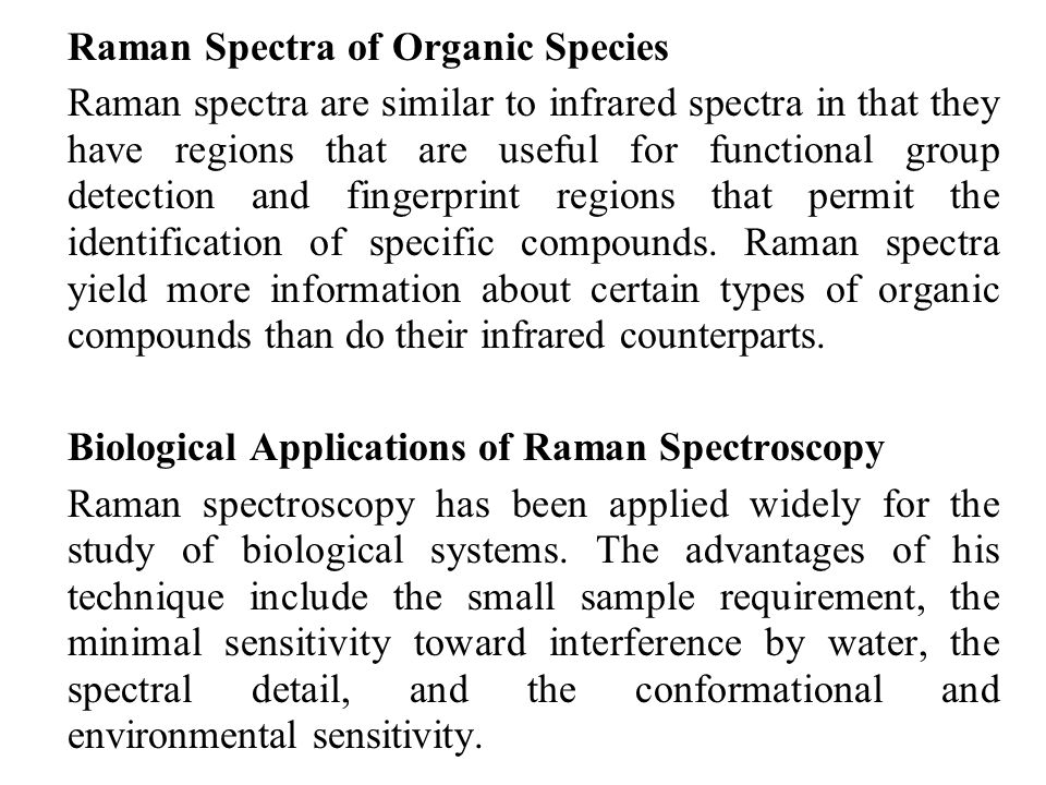 Biological Applications of Raman Spectroscopy