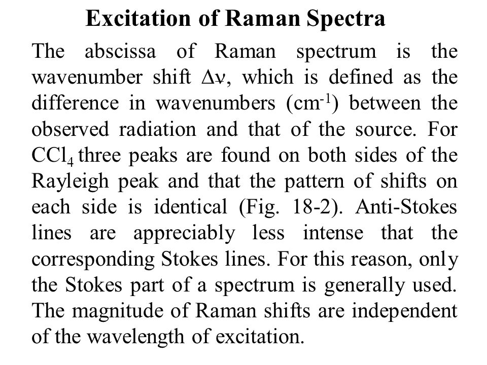 Excitation of Raman Spectra