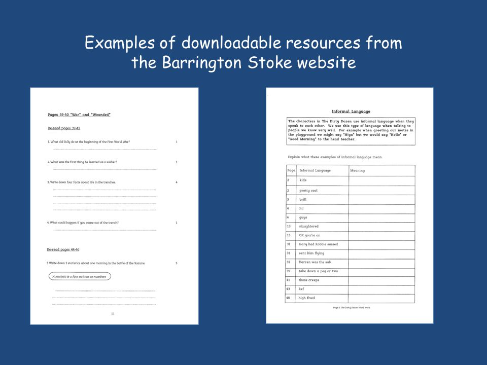 Examples of downloadable resources from the Barrington Stoke website