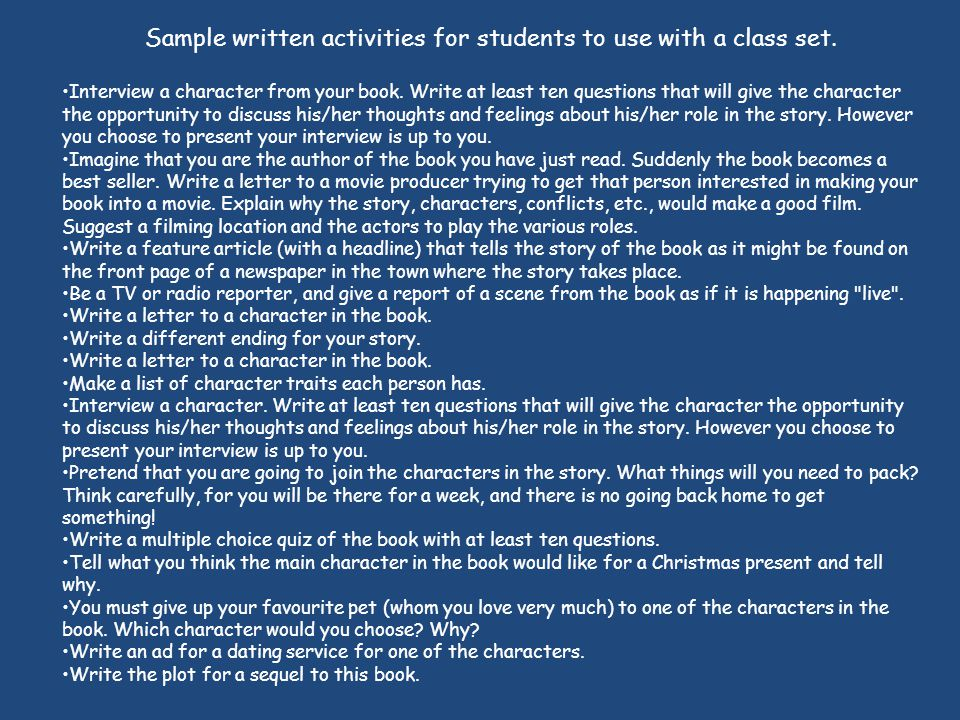 Sample written activities for students to use with a class set.