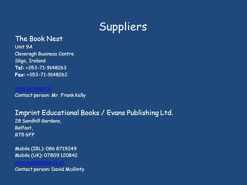 Suppliers The Book Nest