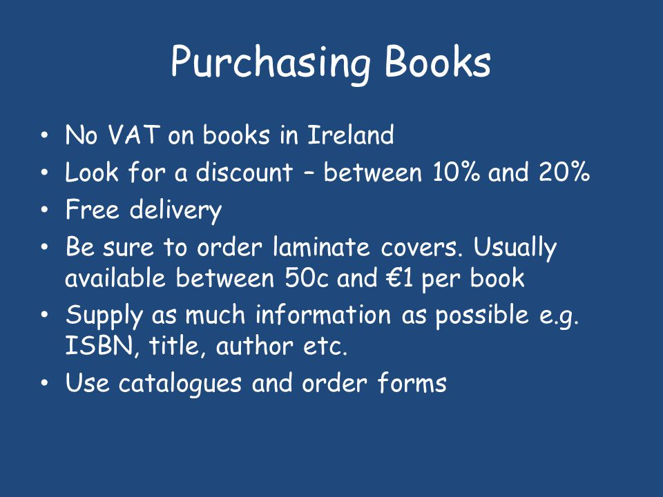 Purchasing Books No VAT on books in Ireland