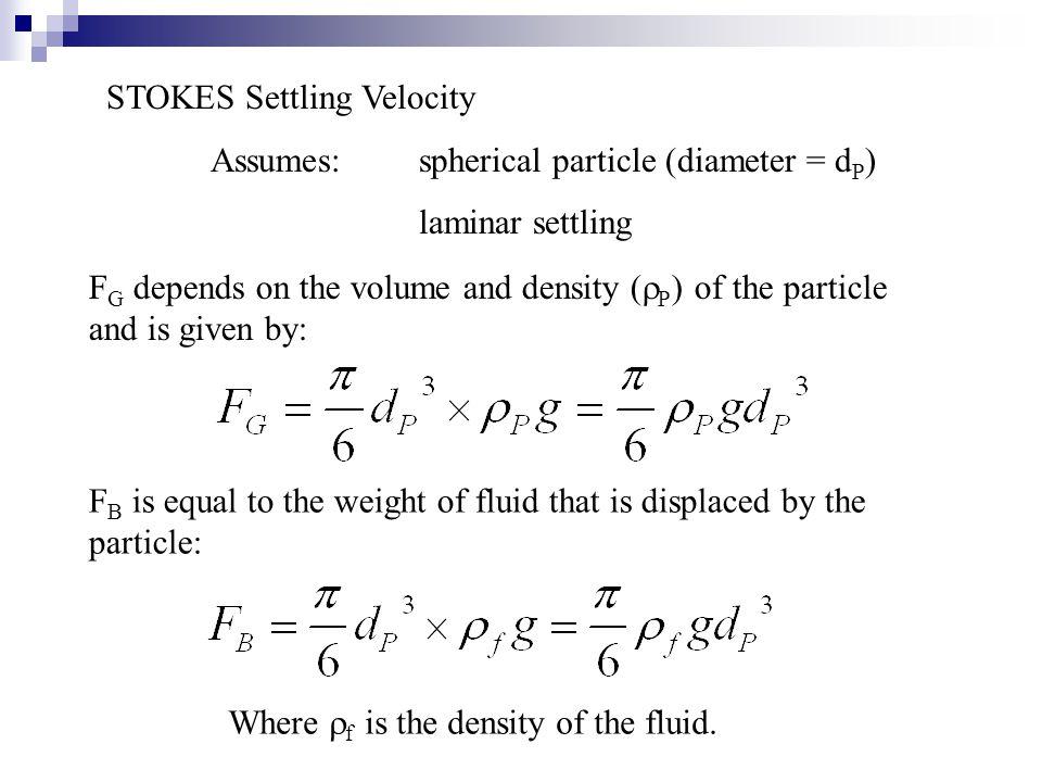 STOKES Settling Velocity