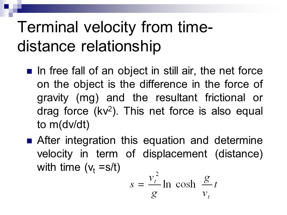 Terminal velocity from time-distance relationship