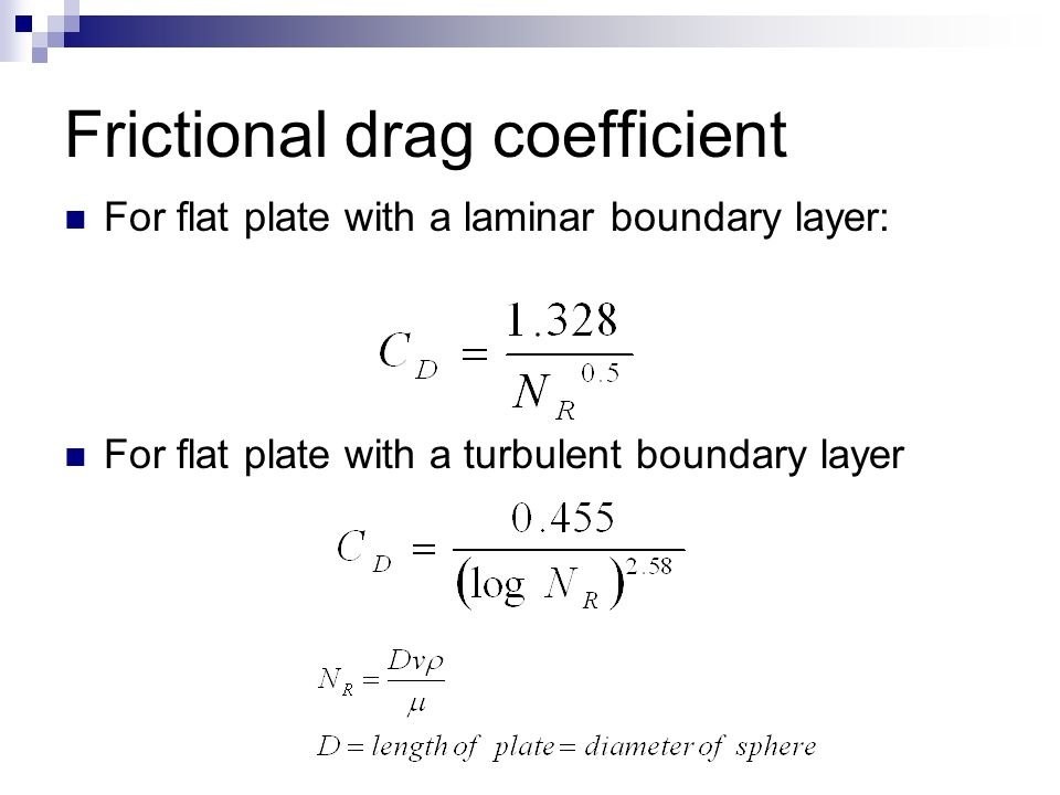 Frictional drag coefficient