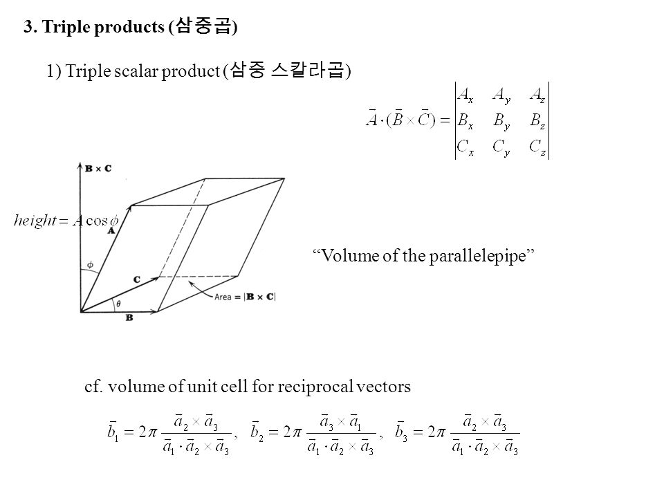 3. Triple products (삼중곱) 1) Triple scalar product (삼중 스칼라곱) Volume of the parallelepipe cf.