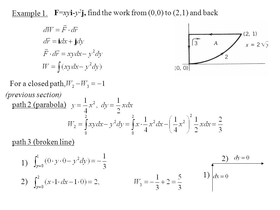 Example 1. F=xyi-y2j, find the work from (0,0) to (2,1) and back. For a closed path, (previous section)