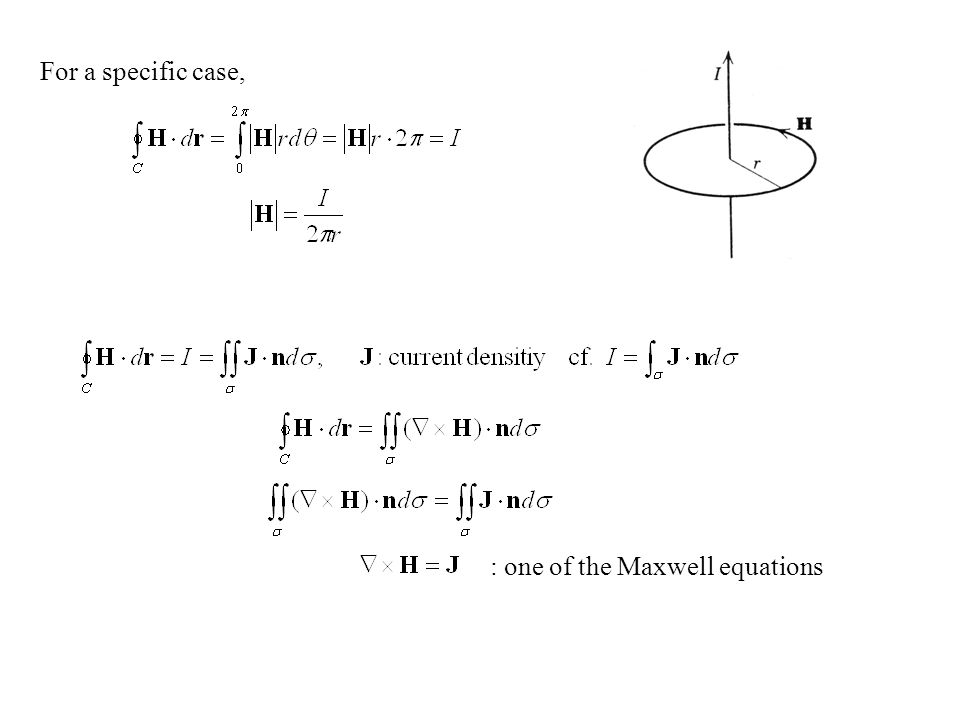 For a specific case, : one of the Maxwell equations