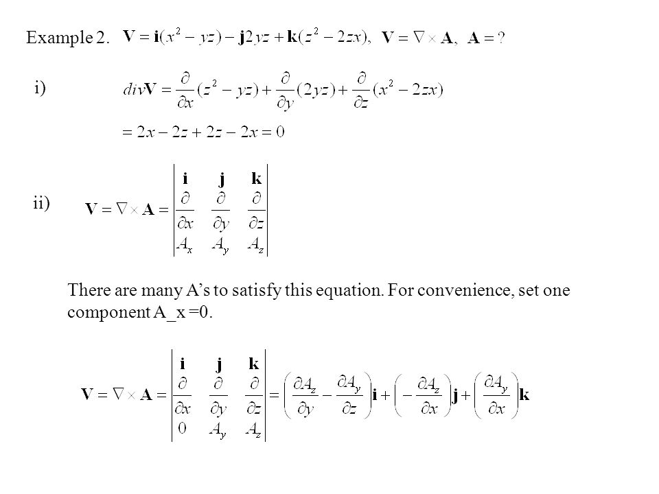 Example 2. i) ii) There are many A's to satisfy this equation.