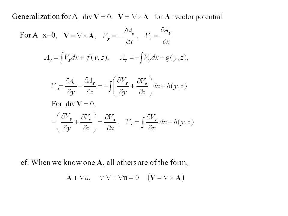 Generalization for A For A_x=0, cf. When we know one A, all others are of the form,