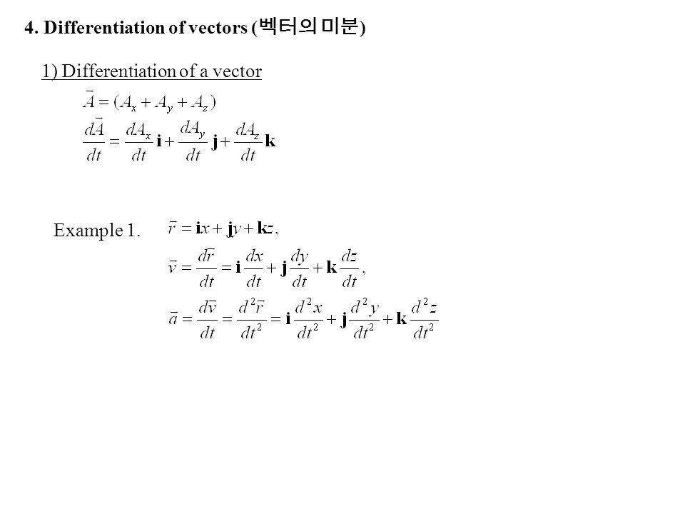 4. Differentiation of vectors (벡터의 미분)