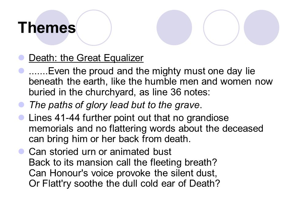 Themes Death: the Great Equalizer
