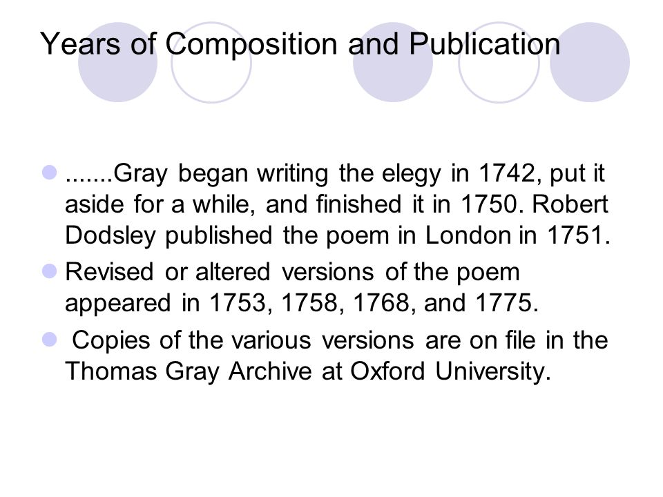 Years of Composition and Publication