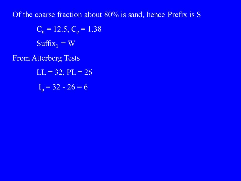 Of the coarse fraction about 80% is sand, hence Prefix is S