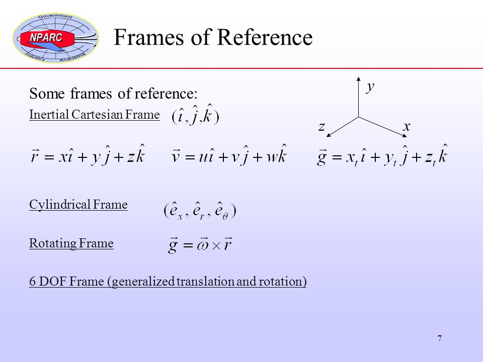 Frames of Reference y Some frames of reference: z x