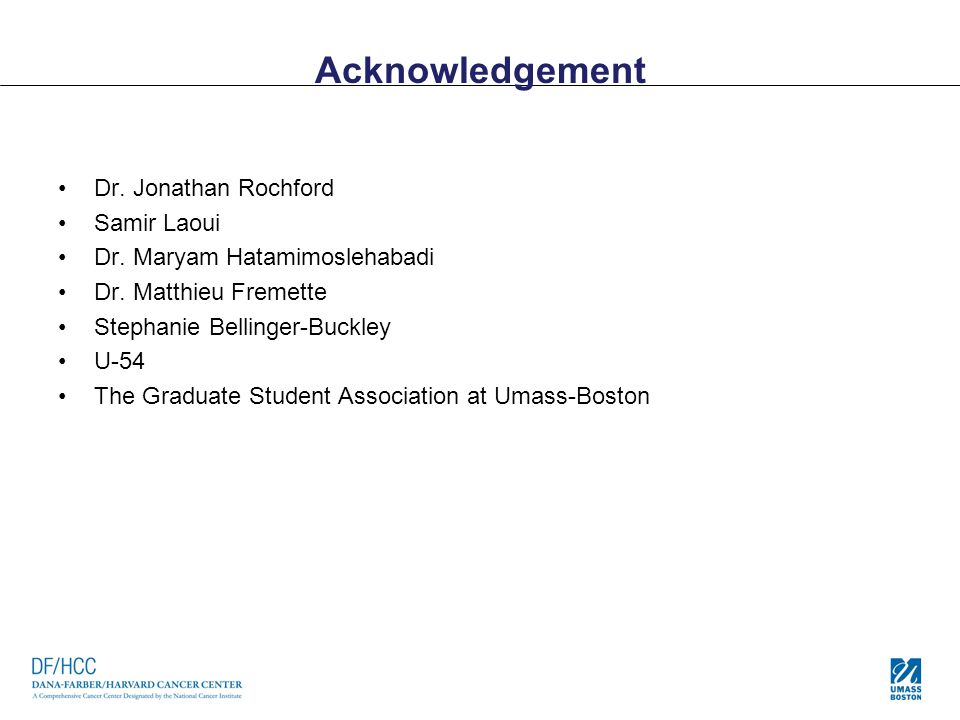 Acknowledgement Dr. Jonathan Rochford Samir Laoui