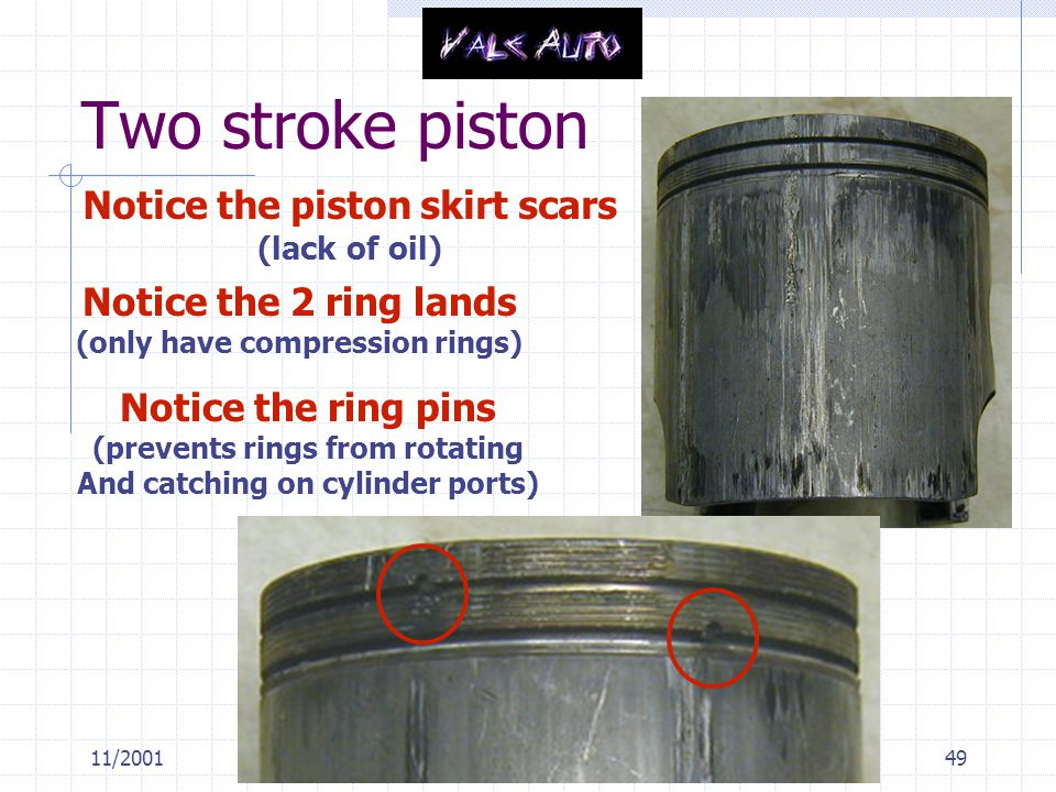 Two stroke piston Notice the piston skirt scars