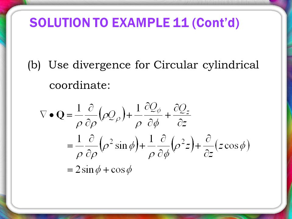 SOLUTION TO EXAMPLE 11 (Cont'd)