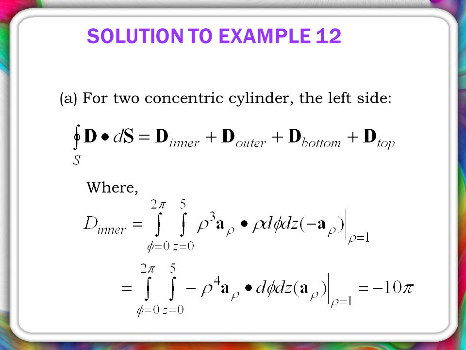 SOLUTION TO EXAMPLE 12 (a) For two concentric cylinder, the left side: