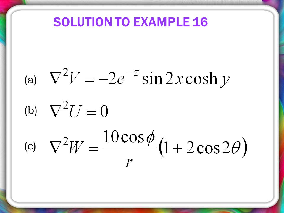 SOLUTION TO EXAMPLE 16 (a) (b) (c)
