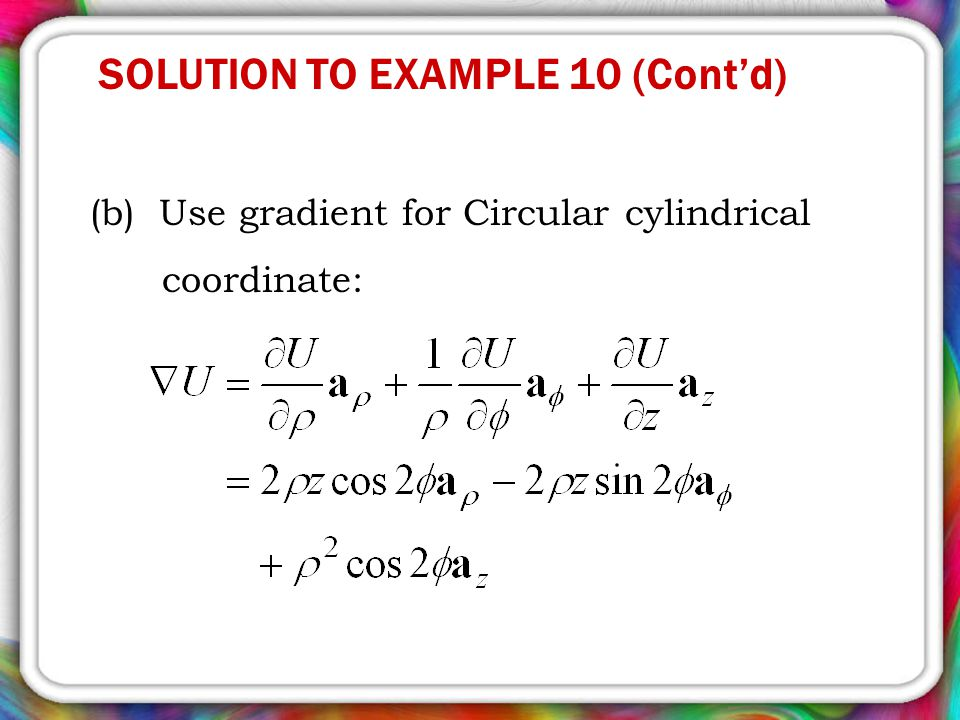 SOLUTION TO EXAMPLE 10 (Cont'd)