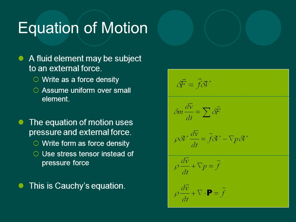 Equation of Motion A fluid element may be subject to an external force. Write as a force density. Assume uniform over small element.