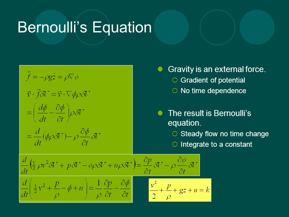 Bernoulli's Equation Gravity is an external force.
