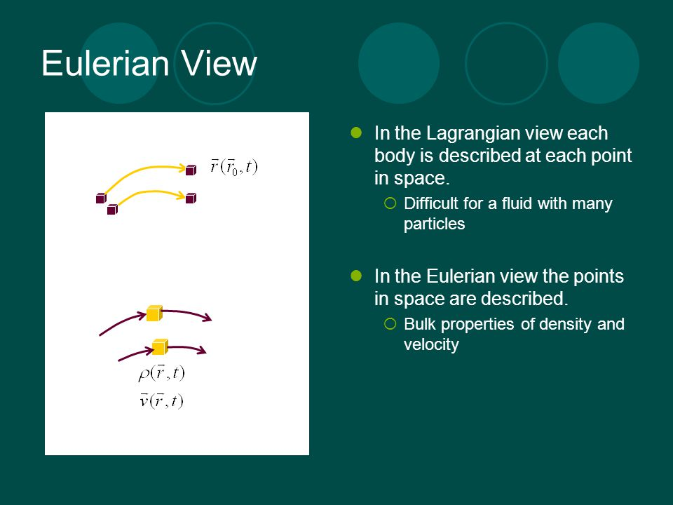 Eulerian View In the Lagrangian view each body is described at each point in space. Difficult for a fluid with many particles.