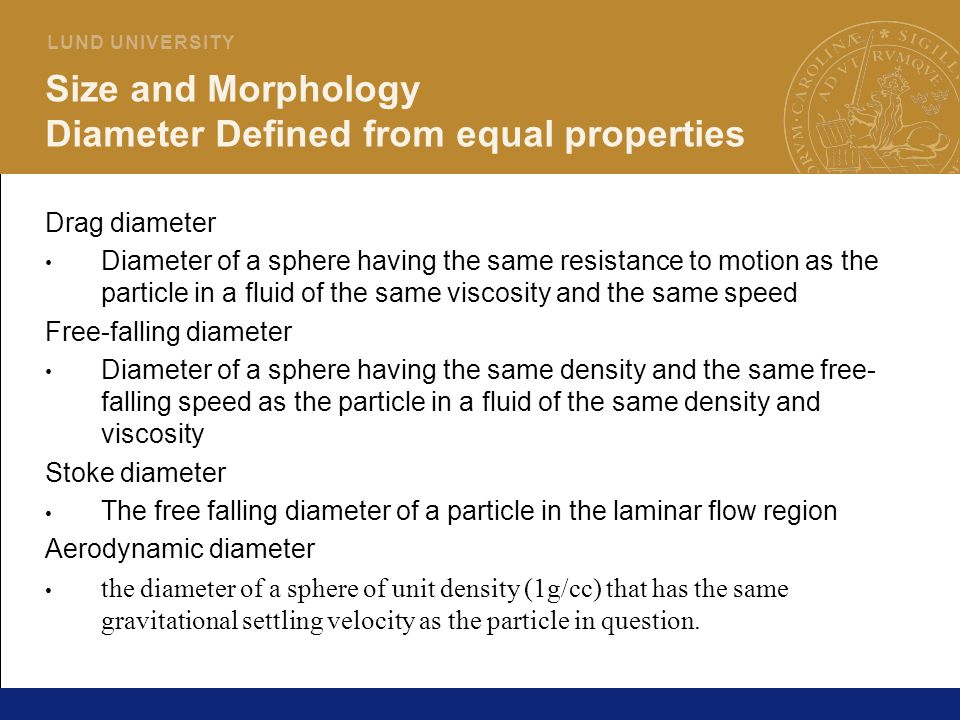 Size and Morphology Diameter Defined from equal properties