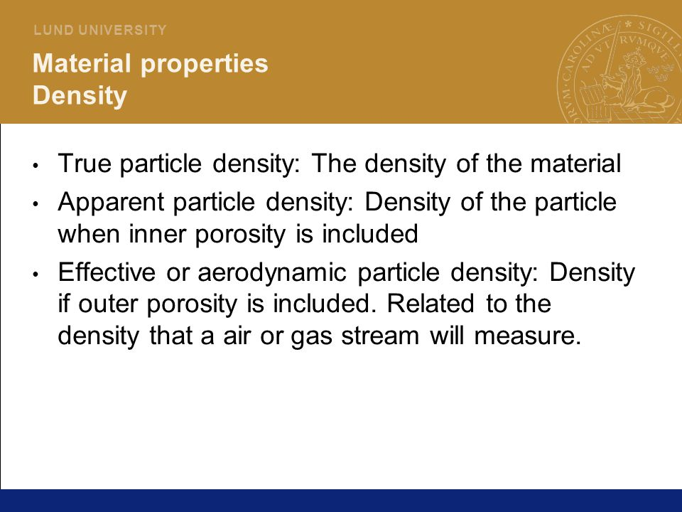 Material properties Density
