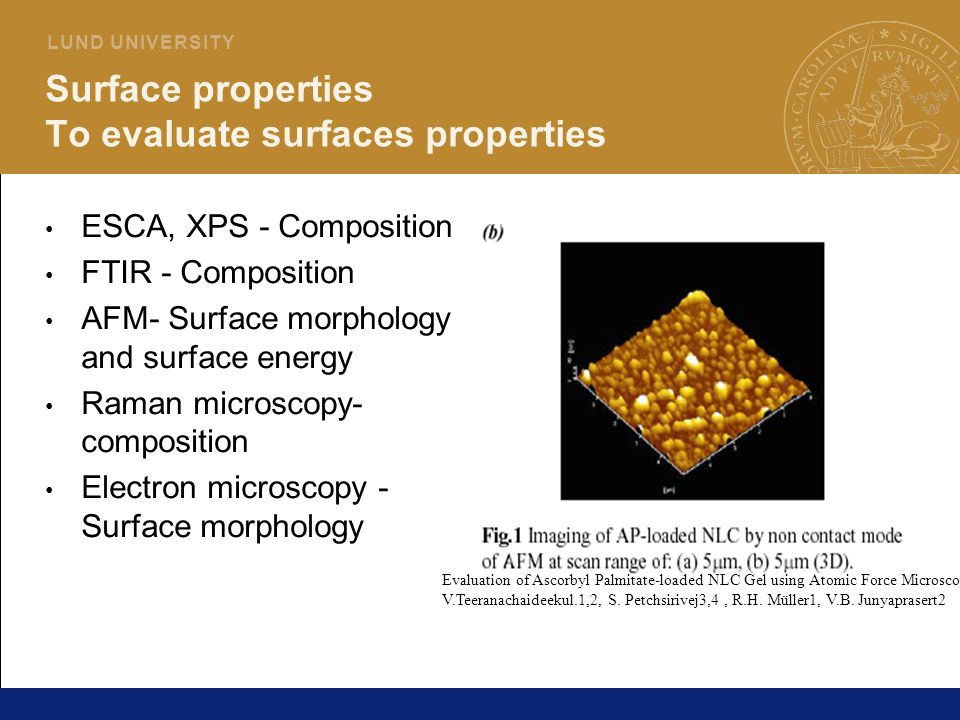 Surface properties To evaluate surfaces properties