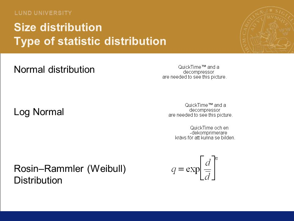 Size distribution Type of statistic distribution