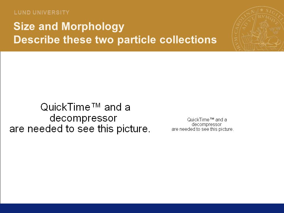 Size and Morphology Describe these two particle collections