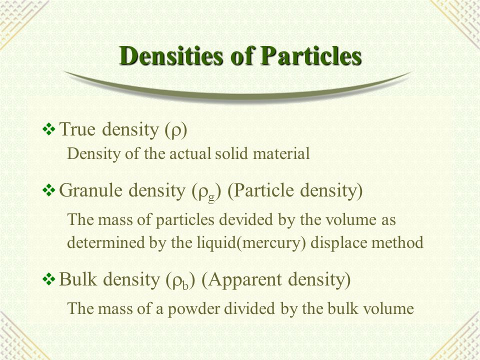 Densities of Particles