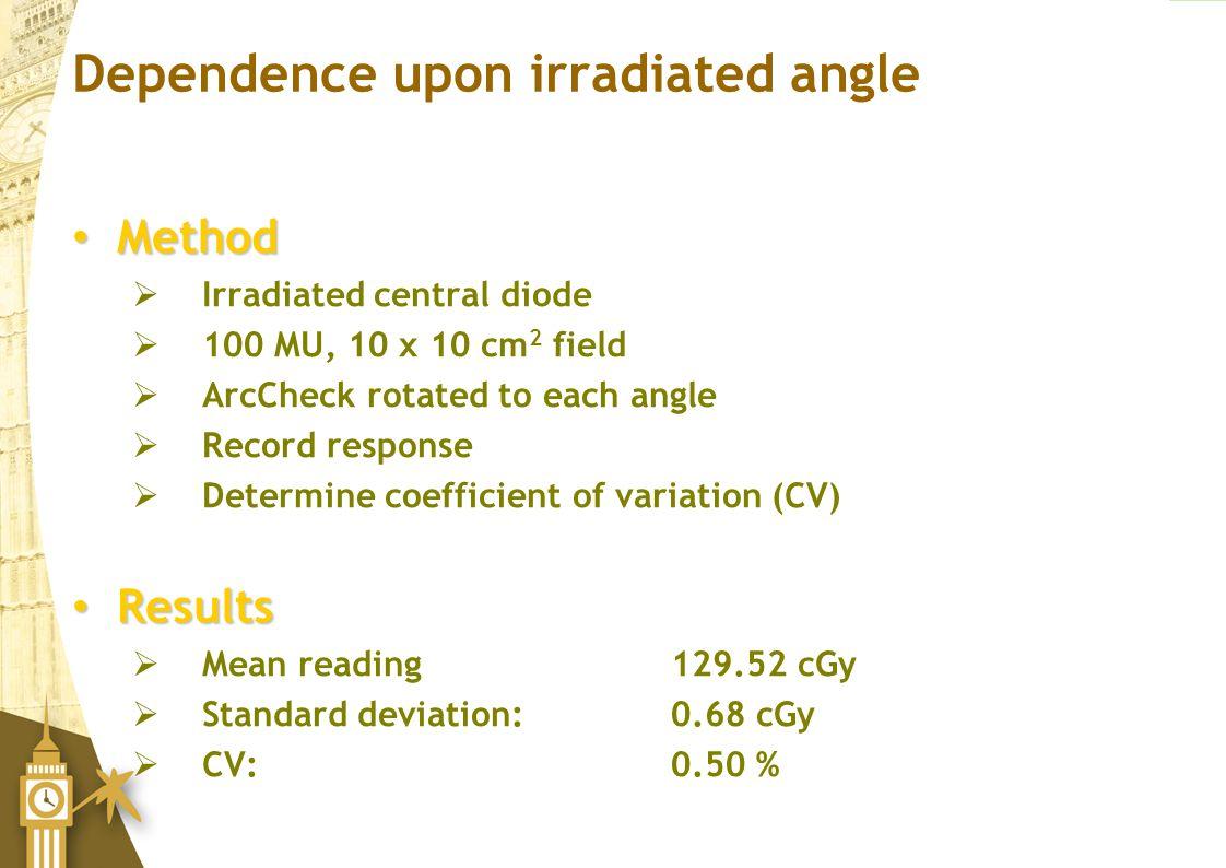 Dependence upon irradiated angle