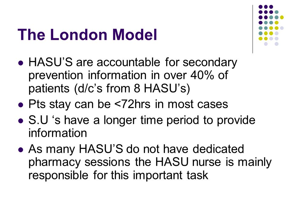 The London Model HASU'S are accountable for secondary prevention information in over 40% of patients (d/c's from 8 HASU's)