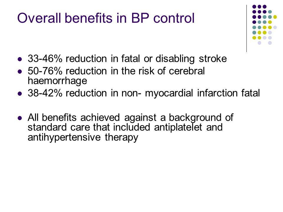 Overall benefits in BP control